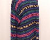 Sale Vintage 80s Black Rainbow Sweater / Oversized Striped Pattern Pullover Tunic Mini / XL / Non-Wool Knit Top Jumper