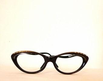 NOS Rhinestone Cat Eye Glasses with Silver Lining // Eyeglasses with Amazing Curves / Women's Vintage 50s 60s Eyewear on Sale