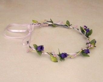 Bridal Floral Crown Boho Halo silk flowers hair wreath garland circlet Purple Lavender headwreath Wedding accessories Hairpiece