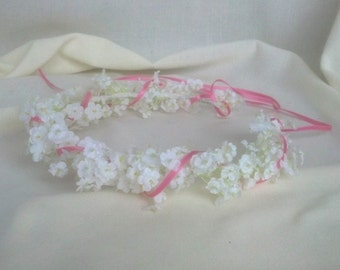 White babys breath Flower Crown First Communion, Flower girl halo Bridal hair wreath baby infant child girls photo prop Wedding accessories