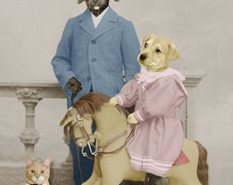 Giddy Up, large original photograph of a yellow lab puppy riding her toy horse as her border collie brother looks on