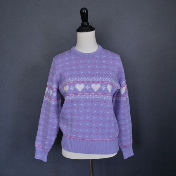 RESERVED for Lisa Wooley / 1980's Purple Heart Print Sweater / Fair Isle Crew Neck / size medium