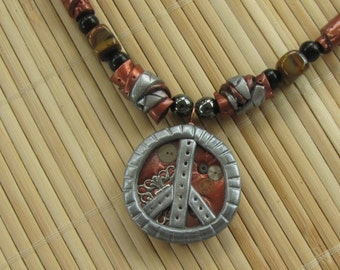 Steampunk PEACE Sign Beaded Necklace - Boho Hippe Chic - Industrial Look Jewelry Handcrafted in Polymer Clay