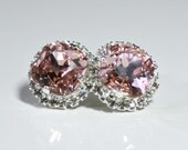 Vintage Pink Swarovski Crystals Framed with Pave' Crystals on Silver Post Earrings, Halo Stud Earrings