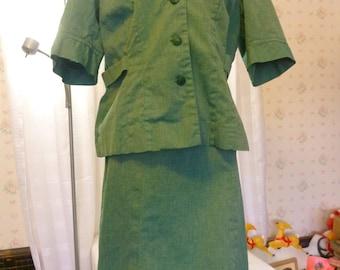 Vintage 1950s Adult Leader Girl Scout Uniform, 2 Piece Dress, Medium-Large