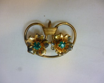 Vintage Brooch / Pendant With Two Flowers and Aqua Stones