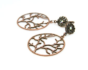 Antique Copper Earrings Copper Hoop Dangles Woodland Rustic Tree Charms Feminine Nature Lover Style Fall Winter Trees Mei Faith