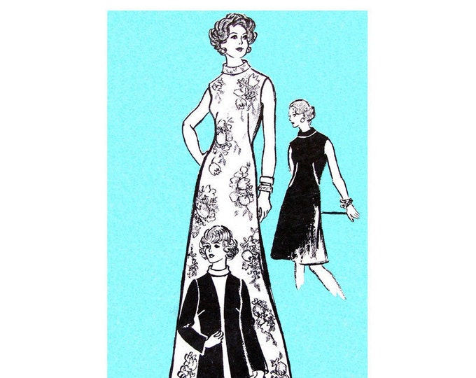1970s Dress & Jacket Pattern Mail Order 9105 Slimming Dart Fitted Maxi Dress Bust 40
