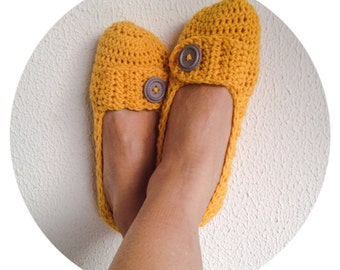 Citrine harvest Honeycomb with Grey Button Crochet Womens Slippers, Ballet Flats, House Shoes