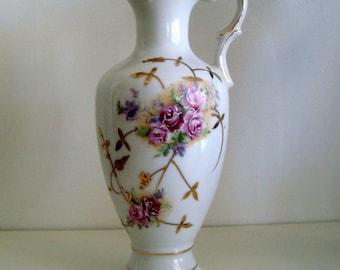 Vintage Floral Porcelain Ewer Vase Crossed Arrows Mark 7491