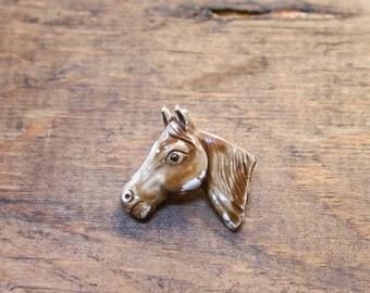 Horse Brooch / Horse Head Pin / Derby Jewelry / Equestrian / Enameled