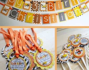 Construction Birthday Party Decorations Orange Yellow Gray Fully Assembled