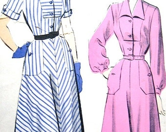 Vintage Advance 5087 1950s One-Piece Dress Pattern  Bust 34 inches