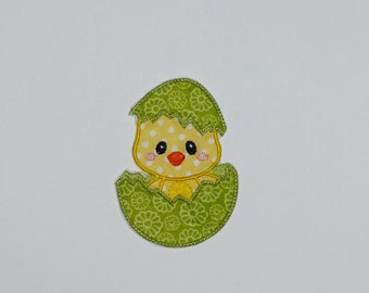 "Embroidered Iron On Applique ""Lime Easter Egg Chick"""