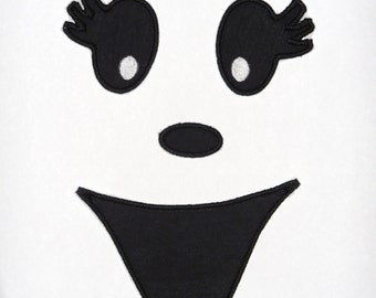 """Embroidered Iron On Applique """"Girl Ghost Face""""  RTS"""