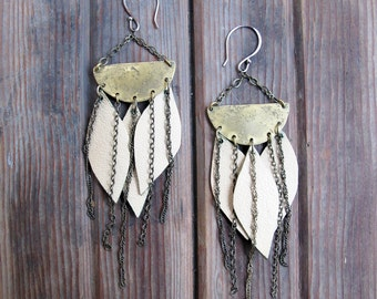 Sepia Petals - Leather and Brass Earrings -  Artisan Tangleweeds Jewelry