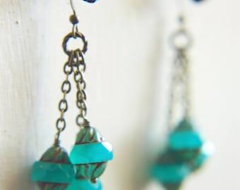 Cluster Earrings Bohemian Tiered Caribbean Blue Czech Glass  - Lanterns in Antigua