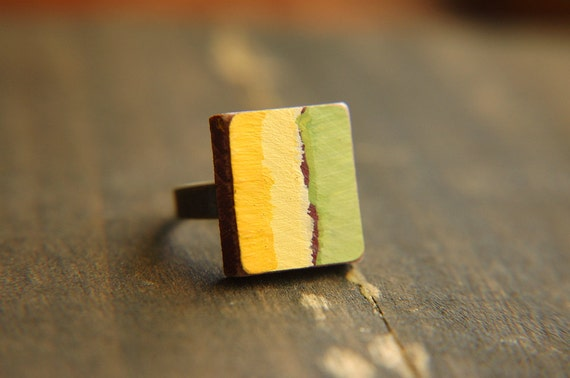 Color Block Hand Painted Ring Green and Yellow Stripe Adjustable Scrabble Tile  - Kiwi Lemon