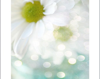"""Daisy Prints, Daisies Flower Photography,""""Just Breathe"""" Print, Ethereal Daisy Floral Art, White Daisy Prints, Daisies Flower Wall Art Prints"""