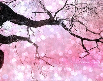 Nature Photography, Surreal Fantasy Nature Tree, Fairytale Fairy Lights Pink Black Trees, Baby Girl Nursery Decor, Surreal Nature Photograph