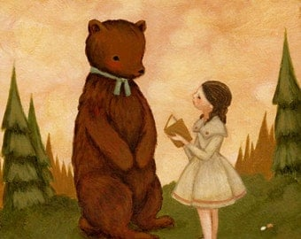 A Story For Mr Bear Print 8x10 - Children's Art, Girl, Bear, Pink, Mint, Green, Cream, Book, Forest, Girl, Reading, Nursery, Cute, Pastel