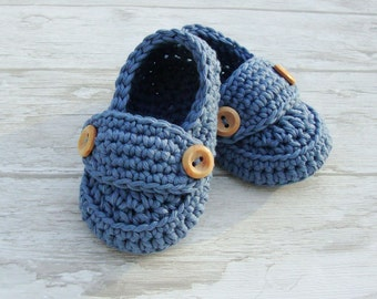 Crochet Baby booties in denim blue, loafers shoes size 0/3 months with giftbox ready to ship