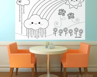 Rainbow Party Printable Decoration or Coloring Sheet Backdrop Printable Wall Decor  3 x 4 feet - Editable Text Printable PDF 1066