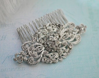 Vintage Stye Bridal Haircomb, Wedding Crystal Haircomb, Bridal Rhinestone Haircomb, Vintage hair accessory, Bridal Comb - 'SASHA'