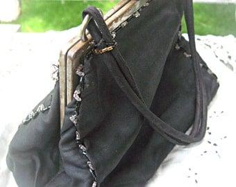 Vintage evening bag, Downton Abbey purse, formal evening bag bakelite clasp ribbon work purse, prom purse, formal black purse