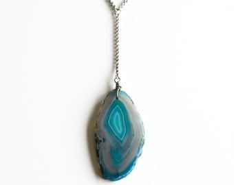 "Colorful agate slice and recycled sterling silver long chain boho necklace, pick your own stone - ""Azura Necklace"""