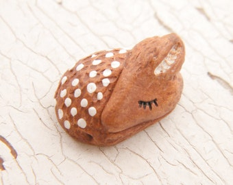 Little Spotted Fawn bead - Sleepy Woodland Critters hand painted forest animal bead (ready to ship)