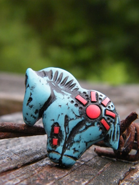 Little Turquoise Pony bead with coral inlay - rising sun pattern (ready to ship)