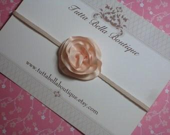 Mini Blush Pink Flower Headband, Baby Headband, Baby Hair Bow, Pink Satin Flower, Toddler Headband, Newborn Headband