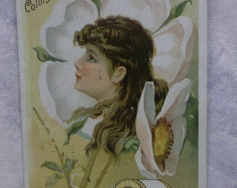Pretty Girl in White Flower - Victorian Trade Card - J&P Coats Six Cord Thread - 1887