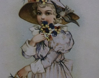 Pretty Girl-Frilly Dress-Hat-Colorful Flowers-Victorian Card Scrap-1800's