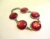 Vintage 60's Red Moonglow Lucite Bracelet DEADSTOCK
