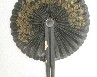 Mourning Fan- Leather Folding Fan Black & Gold Trim-Vintage 1800's Ladies Hand Fan