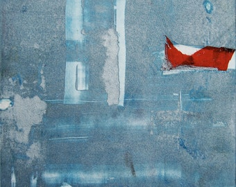 Abstract Original Art Mixed Media Monoprint : SilverLining