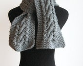 Silver Grey Knit Scarf, Cable and Lace Vegan Scarf, Knit Mens Scarf, The Stef Scarf, Womens Accessories, Winter Scarf, Womens Scarf