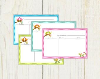 Birds Recipe Cards 4x6 Type & Print Pdf No 809
