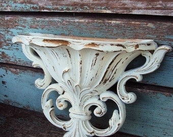 Shabby Chic Baroque Vintage Wall Hanging Wall Pocket Distressed Chippy Antique Off White