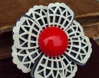 Vintage Metal flower Brooch Painted enamel Red White and Blue Costume Jewelry Pin