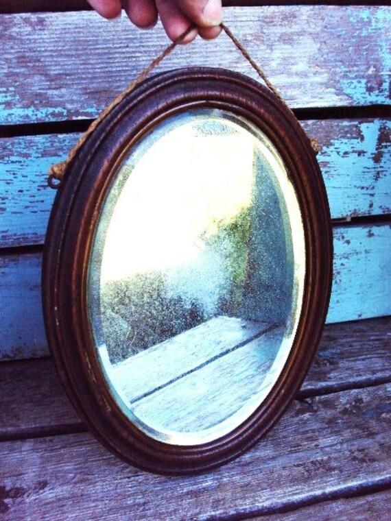 Antique Mirror Beveled Oval Mirror Oak Wood Frame Primitive