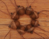 Chestnut Brown Felted Acorn Ornaments, also available without hangers