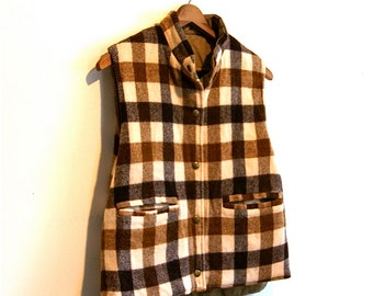 Reversible Wool Plaid Winter Vest // Vintage Outdoor Wear