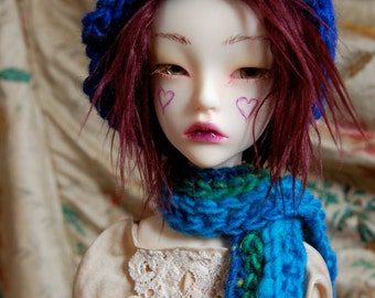 Electric Blue Hat and Scarf for SD BJD