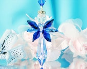 Guardian Angel Car Charm Swarovski Crystal Rear View Mirror Car Accessories Blue Hanging Crystals