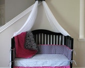 5 Piece Hot Pink and Black Crib Set Princess Baby Bedding Baby Quilt Sheet Dust Ruffle Cornice Bumper Pads