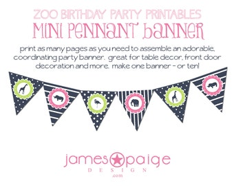 INSTANT DOWNLOAD:  Zoo Birthday Printable Mini Pennant Banner - Print at Home