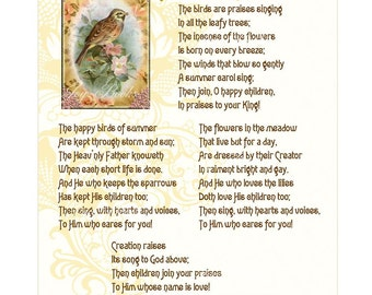 SUMMER PRAISES - Calligraphy Nursery Wall Art For Baby Vintage Verses Antique Hymn Lyrics Poem Parchment White Beige Pink Bird Shabby Flower